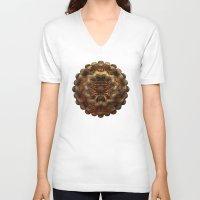 metallic V-neck T-shirts featuring Metallic Weirdo by Lyle Hatch
