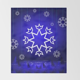 Xmas Blue with snowflake and tipi Throw Blanket