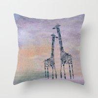 giraffes Throw Pillows featuring giraffes by Bunny Noir