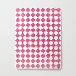 Diamonds - White and Dark Pink Metal Print