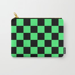 Black and Green Checkerboard Pattern Carry-All Pouch