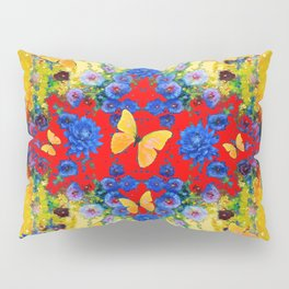 RED GARDEN  BLUE FLOWERS YELLOW BUTTERFLIES Pillow Sham