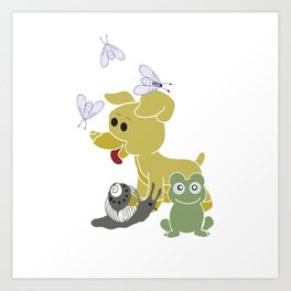Frogs and snails and puppy dog tails Art Print