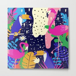 Colorful tropical forest flamingos and parrot Metal Print