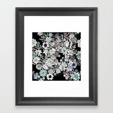 Colorful black detailed floral pattern Framed Art Print