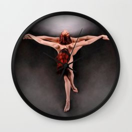 8732 The Dance - Two Redheads Dancing Naked Creative Cross Photograph by Chris Maher Wall Clock