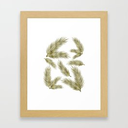 Green Gold Glitter Tropical Leaves Framed Art Print