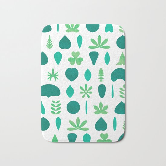 Leaf Shapes and Arrangements Pattern Bright Bath Mat