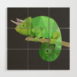Low Poly Chameleon Wood Wall Art