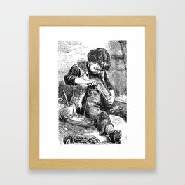 A Bit of Sunshine (1879) - A young boy crafting a boat Framed Art Print