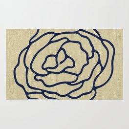 Rose Nautical Navy Blue on Linen Rug