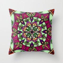 Garden Leaves Mandala Throw Pillow