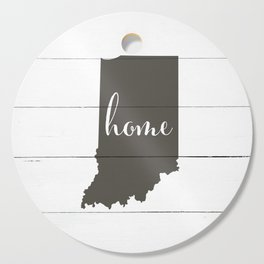 Indiana is Home - Charcoal on White Wood Cutting Board