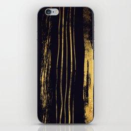 Gold Foil Paint Brush Vertical Stripes iPhone Skin