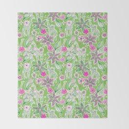 Fun Preppy Whimsical Giraffe Floral Print / Pattern Throw Blanket