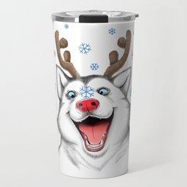 Husky Rudolph Travel Mug