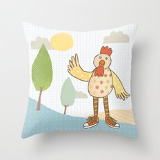 sunny rooster Throw Pillow