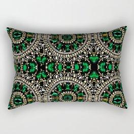 teal silver emerald green rhinestone crystal bohemian pattern Rectangular Pillow