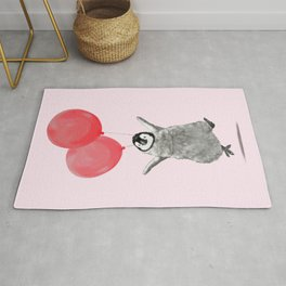 Flying Baby Penguin in Pink Rug