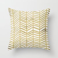ink Throw Pillows featuring Gold Herringbone by Cat Coquillette