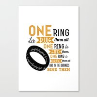 lord of the ring Canvas Prints featuring The One Ring - The Lord of the Rings Typography by Teacuppiranha