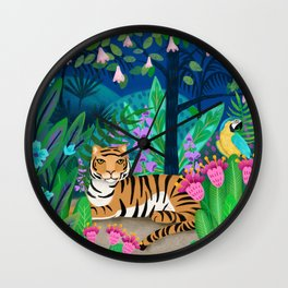 Tiger Burning Bright - Jungle Tiger in the Night Wall Clock