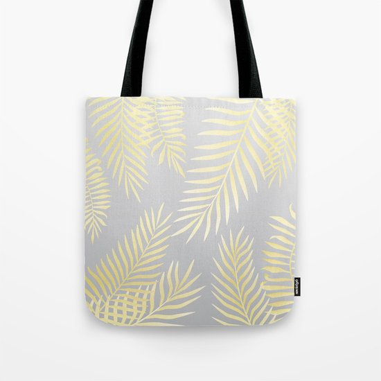 Gold palm leaves on grey Tote Bag