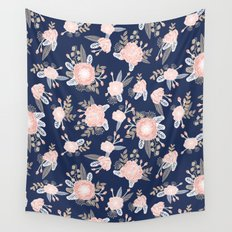 Floral bouquet pastel navy pink florals painted painted metallic pattern basic minimal pattern print Wall Tapestry
