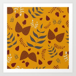 Autumn leaves and acorns - ochre and brown Art Print