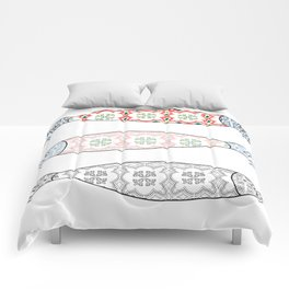 Traditional Portuguese icon. Colored sardines with typical Portuguese tiles patterns. Vector illustr Comforters