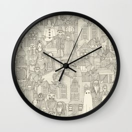 vintage halloween drab ivory Wall Clock