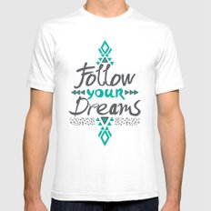 Follow Your Dreams White Mens Fitted Tee SMALL