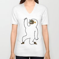 eat V-neck T-shirts featuring Eat Eat Eat by Jarvis Glasses