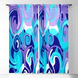Finger Paint Swirls in Turquoise, Lavender, Purple, Navy Blackout Curtain