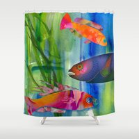 hippy Shower Curtains featuring Hippy fish by ariesmoon