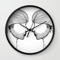 queer Wall Clocks featuring Queer boys  by Raúl Rodríguez