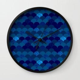 Dark royal blue mermaid scales Wall Clock