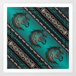 Horse Nation (Aqua) Art Print
