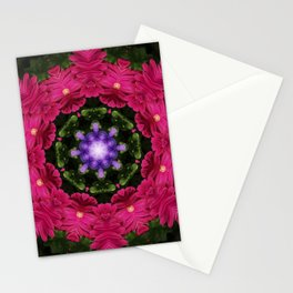 Hot Pink Gerbera And Cool Blue Viola Kaleidoscope Stationery Cards