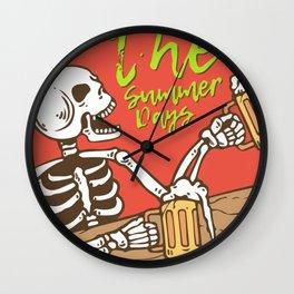 Skull Drinking Beer Summer Days Wall Clock