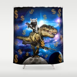 Cat Kitty Travel through Galaxy on Dinosaur T-rex with Guns and Golden chains Swag money dollars Shower Curtain