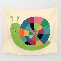snail Wall Tapestries featuring Snail Time by Andy Westface