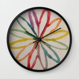 Spirograph Rainbow flower Wall Clock
