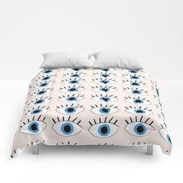 Blue evil eye Comforters