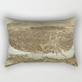 Vintage Pictorial Map of Norfolk Virginia (1892) Rectangular Pillow