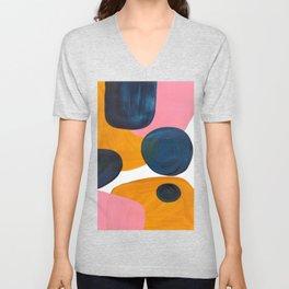 Mid Century Modern Abstract Minimalist Retro Vintage Style Pink Navy Blue Yellow Rollie Pollie Ollie Unisex V-Neck