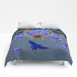 BLUE  NATURE FLORAL FANTASY DREAMS Comforters