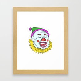 Vintage Circus Clown Smiling Drawing Framed Art Print