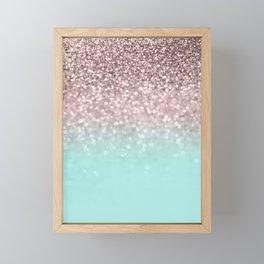 Sparkling Rose Gold Blush Aqua Glitter Glam #1 #shiny #decor #society6 Framed Mini Art Print