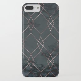 Modern Deco Rose Gold and Marble Geometric Dark iPhone Case